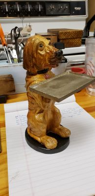 CAST IRON HOUND DOG BUSINESS CARD HOLDER 8 1/2 IN TALL