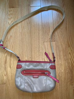 Coach Beige and Coral/Pink Crossbody Bag