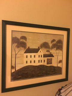 Beautiful, Americana folk prints matted and framed. Farm house chic.
