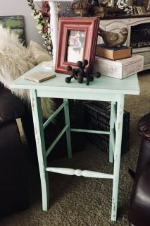 Green distressed table, chair conversion, perfect condition, just changing decor! Only $45!