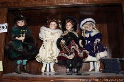 FOUR Franklin Mint Winter Princess Dolls