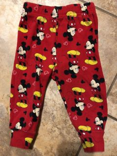 Mickey Mouse Red Like New Pj s Pants. Nice Condition. Size 12 Months