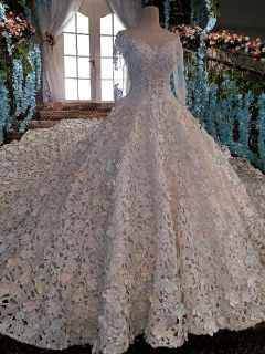 Farrah's A Line Lace Beading Wedding Gown 3 Foot Train Size 16