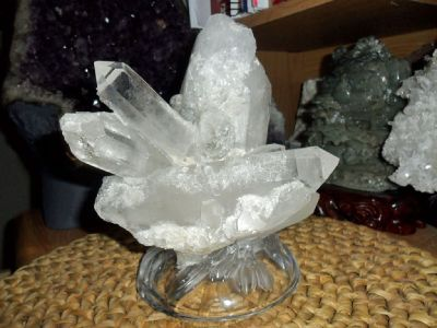 Beautiful Crystal Cluster on a Flower Glass Base