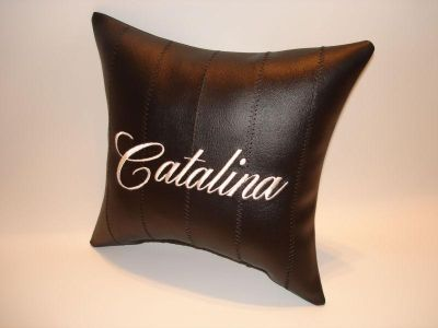 Buy vintage custom made PONTIAC CATALINA car show pillow black with gold emblem motorcycle in Bartlesville, Oklahoma, US, for US $9.95