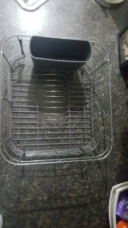 Stainless steel/plastic grey dish drying rack