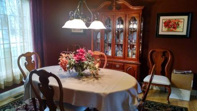 Cherry Dining Table & Chairs, China Cabinet and Server