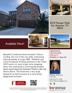 Available Now!  8319 Pioneer Field, San Antonio