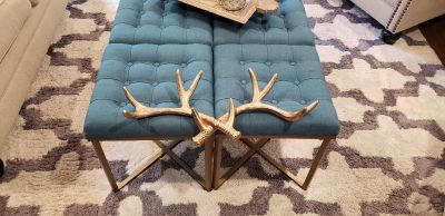 "Gold Heavy Iron Antlers from West Elm. Ready to Hang on the Wall with 2 Built in Hangers.24"" L x 1m "" W x 4"" D."