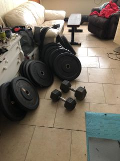Bumper plates squat rack and misc gym 600 obo