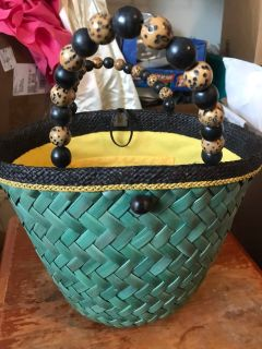 Vintage Majunga Rattan Woven Bucket Purse Bag