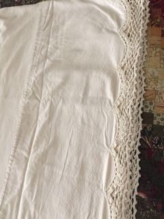 Twin Size Ivory Cotton and Crocheted Lace Bed Skirt