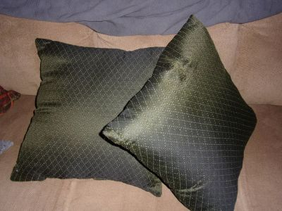 Pair of 25 inch square floor bed throw dark green DECORATIVE PILLOWS