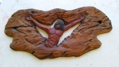 """32"""" Antique Jesus Hand Sculpted Redwood Wall Hanging Religious Wall Art"""