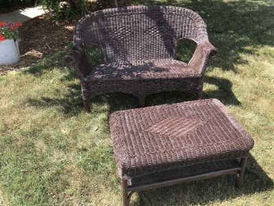 Wicker Loveseat and Table Set