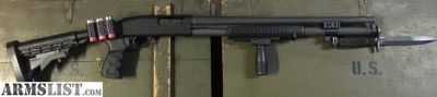 "For Sale: Mossberg 500 12ga, 20"" barrel, tactical furniture, bayonet"