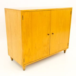 Paul McCobb Style Small Blonde Credenza Cabinet