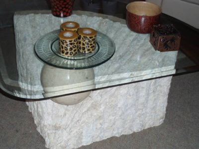 CONTEMPORARY STONE GLASS TABLE
