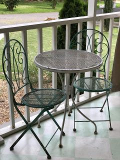 Vintage inspired bistro table and folding chairs, patio table and chairs, metal table and chairs