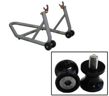Sell BikeTek Aluminum Silver Rear Stand w/ Bobbin Spools Black 6mm Aprilia Flaco All motorcycle in Ashton, Illinois, US, for US $84.89