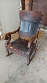 Antique Rocker with leather pad