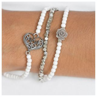 PAPARAZZI BEAUTIFUL LOVER S LOOT WHITE DREAM BRACELET NWT