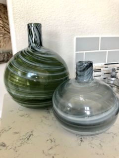 Green and grey vase