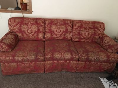 Red gold couch with free matching chair!