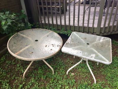 Glass top patio tables ($25 for both!)
