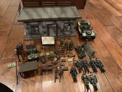Toy army soldiers with horse, Jeep, motorcycle and bunker