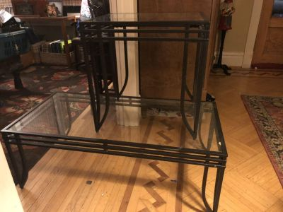 Black Wrought Iron coffee table and end table.