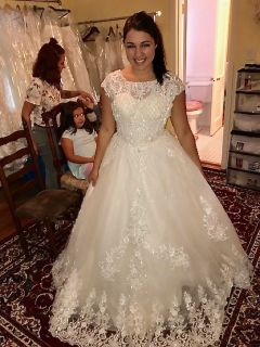 Olivia's A Line Lace Beading Wedding Gown Size 16