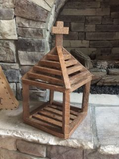 Unique hand crafted piece. Wood church ~ candle holder ~ decor. Great gift.