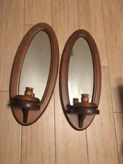 Lg Wooden Candle Holders w/ Mirrors -20 1/2 by 8 1/2