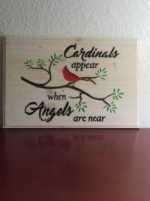 Cardinals Angels Are Near Wood Plaque