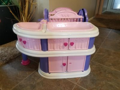 Cute doll station. Crib, bath, changing table. MUST GO TODAY NO HOLDS MACKINAW PICKUP