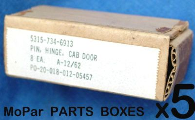 Sell 5 NOS VINTAGE MOPAR MILITARY BOX PACKAGING for DODGE CAB DOOR HINGES PINS PART motorcycle in Valencia, California, US, for US $13.34