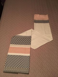 NWOT, fabric shower curtain. Gray, cream and peachy/pink