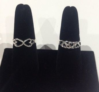 New! Sterling Silver 925 Hearts Rings