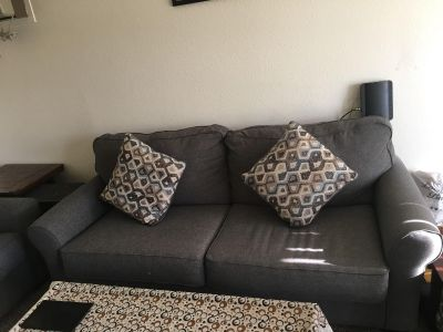 Sofa, love seat, coffee table, end tables