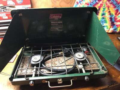 Coleman propane camp stove. Works great.