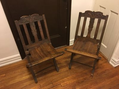 2 Wooden Folding Chairs with Hand Carving