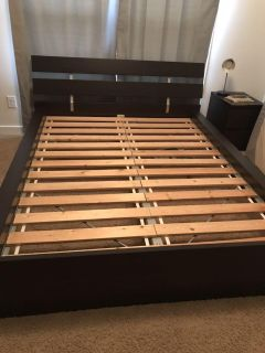 IKEA Queen size bed frame, slatted bed base, and night stand