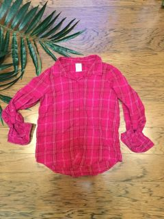 Girls Pink Plaid Flannel with Tabbed Camper Sleeves. Size 14/16. Super Soft!