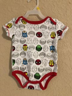 MARVEL Print Onesie Playsuit. Like Brand New Condition. Size 3-6 Months