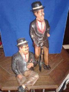 Laurel & Hardy figurines, w/cycle. Vintage of 50yrs