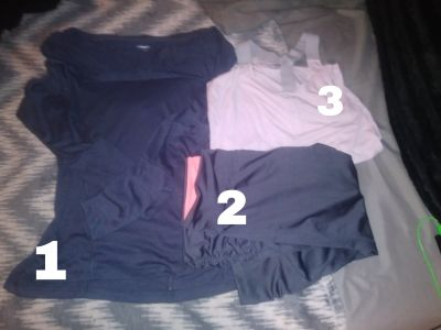 3 piece light pink & grey exercise outfit