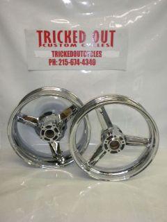 Purchase 00-05 SUZUKI GSXR 600/750 Chrome OEM wheels EXCHANGE 2000 01 02 03 04 2005 gsxr motorcycle in Warminster, Pennsylvania, United States, for US $599.99