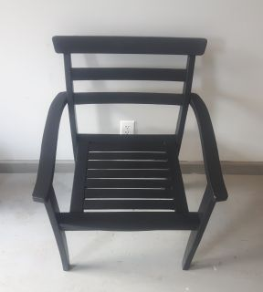 Outdoor Black Roomy Wood Chair - Very Good, Sturdy Condition