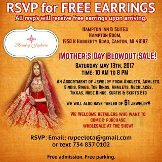 Mothers's Day Blowout Sale! RSVP for Free EARRINGS